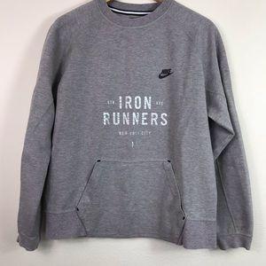 Nike tech crewneck sweatshirt grey pink